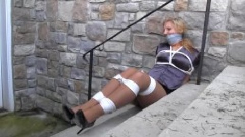 PARTY GIRL HOGTIED AND GAGGED!